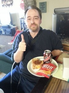 Victory meal - the man can have his Code Red and Cheez-its again!