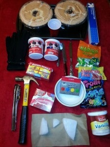 Ingredients for making an erupting volcano cake