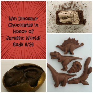 Jurassic world giveaway of dinosaur chocolates